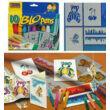 BLO Pens COOL COLOURS/10 fújós filctoll  készlet papírra +4 sablon