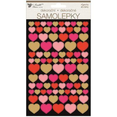Öntapadós matrica szívek 2 ív, 14x25 cm