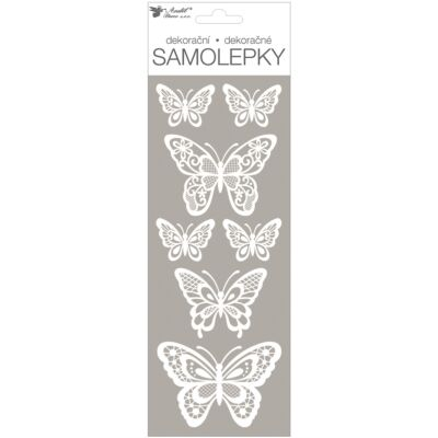 Öntapadós matrica, fehér glitteres pillangók, 11x30 cm