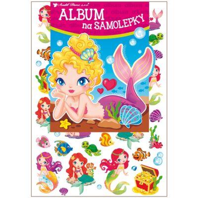 Album öntapadós matricákra, 16 x 29 cm, 45 db hologramos matrica, sellők