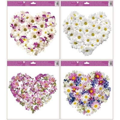 Ragasztó nélküli ablakmatrica 30 x 33,5 cm szívek virágokból