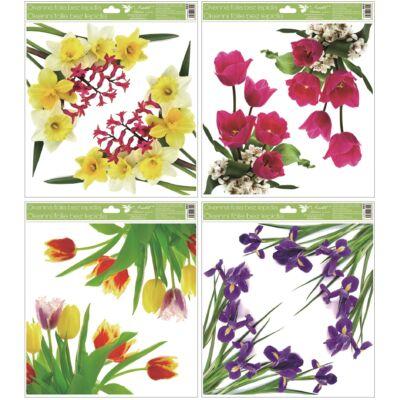 Ragasztó nélküli ablakmatrica 30 x 33,5 cm virágok