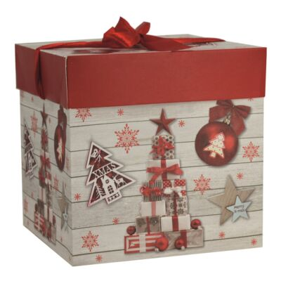 Karácsonyi díszdoboz 16,5 x 16,5 x 16,5 cm masnival