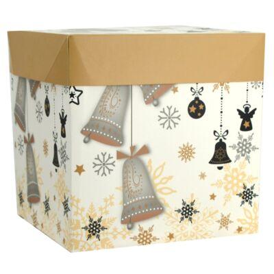 Karácsonyi díszdoboz 10,5 x 10,5 x 10 cm szalaggal