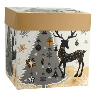Karácsonyi díszdoboz 16,5 x 16,5 x 16 cm szalaggal