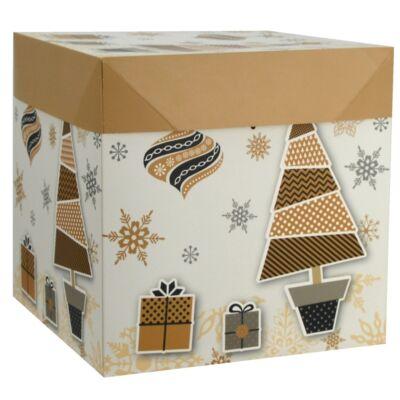 Karácsonyi díszdoboz 21,5 x 21,5 x 21 cm szalaggal