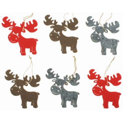 Karácsonyi filc dekoráció 9 cm 6 db/csomag