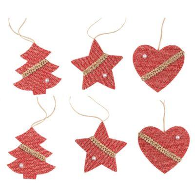 Karácsonyi filc dekoráció 6 cm 6 db/csomag