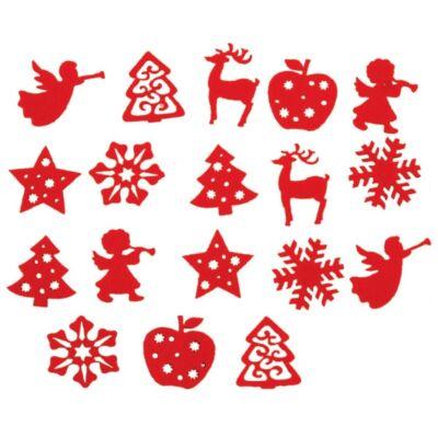 Karácsonyi filc dekoráció 3 cm 18 db/csomag