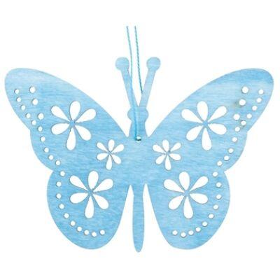 Fából készült pillangó lóg, kék 12 cm, akasztóval