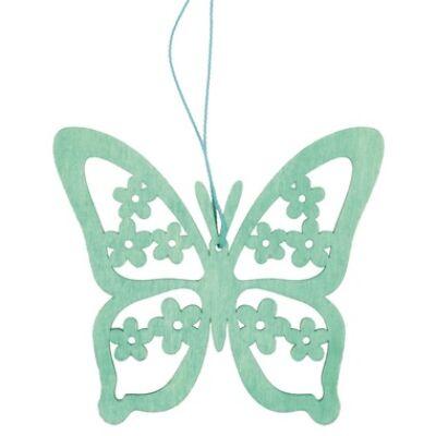 Fából készült pillangó a 12 cm-es, türkiz, függesztéshez