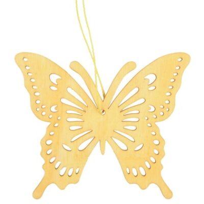 Fából készült pillangó 10 cm-es, sárga, akasztóval