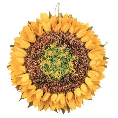 Ajtóra napraforgó dekoráció 27 cm, sárga
