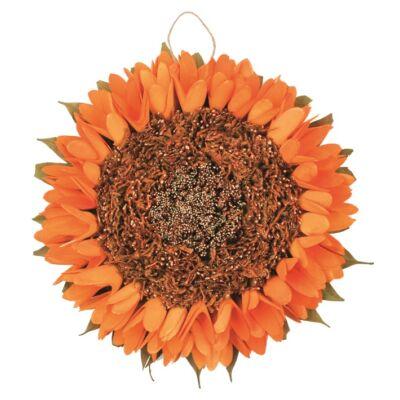 Ajtóra napraforgó dekoráció 27 cm, narancssárga