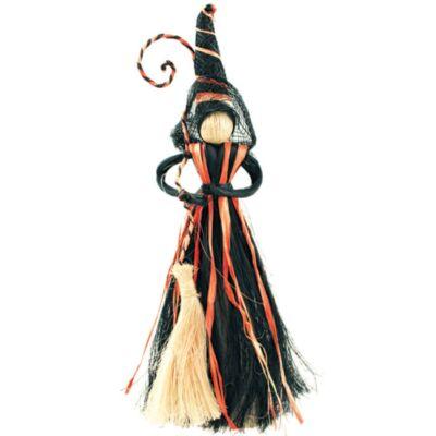Boszorkány természetes anyagokból ,fekete-narancssárga szoknyával 20 cm