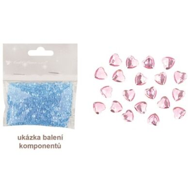 Öntapadó szív rózsaszín 2 cm, 20 db