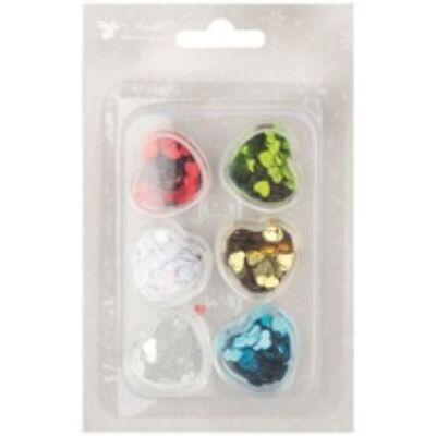 Flitterek Szívek 5 mm, színkeverék 18 g