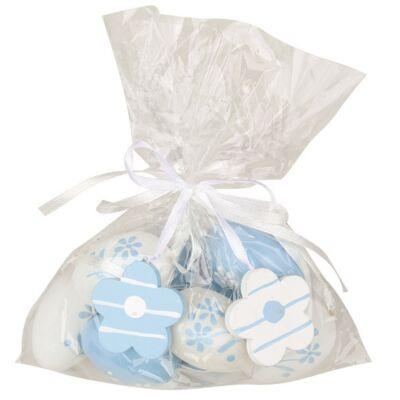 Műanyag kék tojás 4 cm-es, 8 db táskában, 2 virággal
