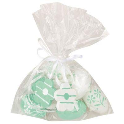 Műanyag zöld tojás 4 cm-es, 8 db táskában, 2 virággal