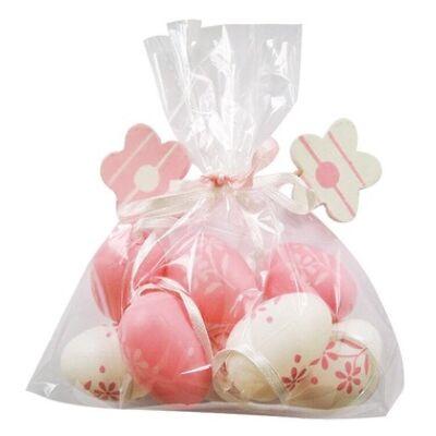 Műanyag rózsaszín tojás 4 cm-es, 8 db táskában, 2 virággal
