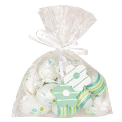 Műanyag zöld-türkiz tojás 4 cm-es, 8 db-os zsákban 2 virággal