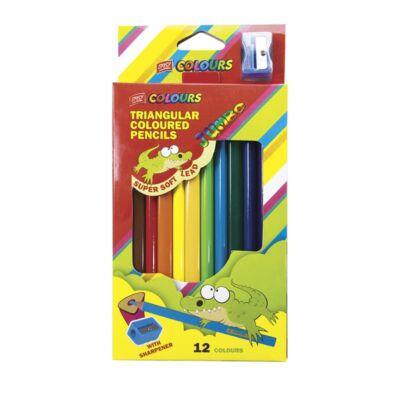 Színes ceruza, háromszögű JUMBO faragóval 12db-os