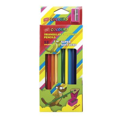 Színes ceruza, háromszögű, faragóval 12db-os