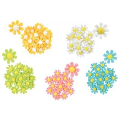 Virág filc dekoráció ragasztóval 18db, 3,5cm - sárga