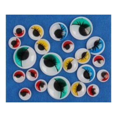 Öntapadós színes szemek szempillákkal 24 db/ MIX