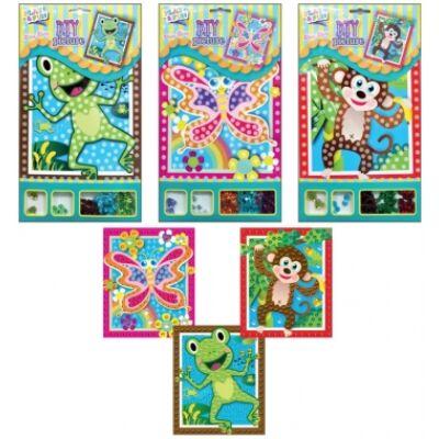 Mozaik csillogó flitterrel, béka, majom, lepke 20,5 x 17cm