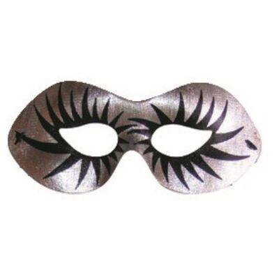 Álarc ezüst fekete szempillákkal 19 cm