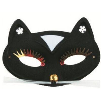 Álarc - cicás, fekete, 17cm