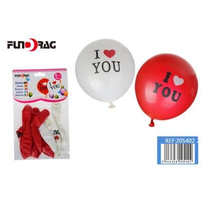 """Lufi """"I LOVE YOU"""" piros fehér 5db"""