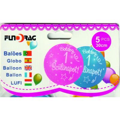 1 éves - Boldog születésnapot lufi,  30 cm - 5 db/csom