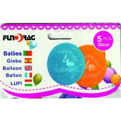 4 éves -Boldog születésnapot lufi,  30 cm - 5 db/csom