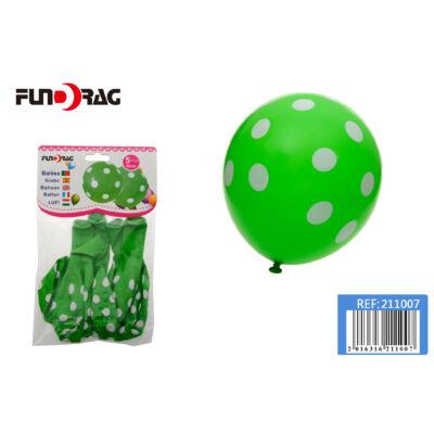 Pöttyös latex lufi  v.zöld 5 db / csomag 30 cm