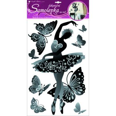 Falmatrica - Fekete balett táncos 60 x 32 cm