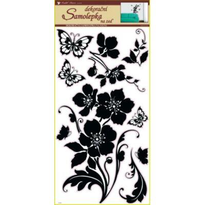 Falmatrica - Fekete virág pillangókkal, 69 x 32 cm