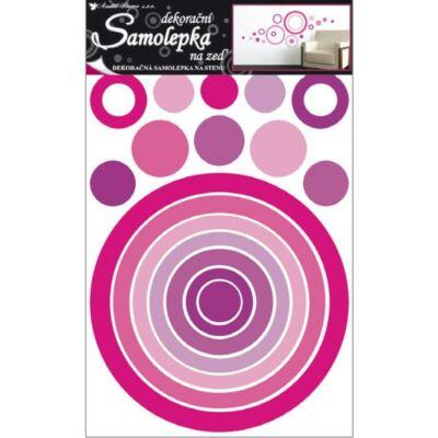 Nagy méretű falmatrica  60x42 cm - Rózsaszínű körök