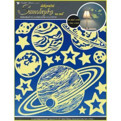 Sötében világító  falmatrica, 32x31 cm, Bolygók